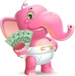 Baby Elephant Vector Cartoon Character - Holding Money