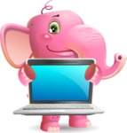 Baby Elephant Vector Cartoon Character - Showing a laptop