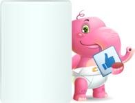 Baby Elephant Vector Cartoon Character - Showing Big Blank banner