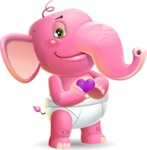 Baby Elephant Vector Cartoon Character - Showing Love