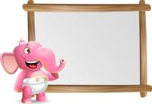 Baby Elephant Vector Cartoon Character - Showing on Big whiteboard