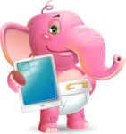 Baby Elephant Vector Cartoon Character - Showing tablet