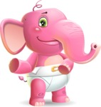 Baby Elephant Vector Cartoon Character - Showing with both hands