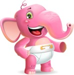 Baby Elephant Vector Cartoon Character - Showing with left hand