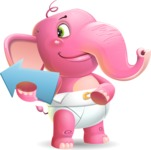 Baby Elephant Vector Cartoon Character - Showing with right hand
