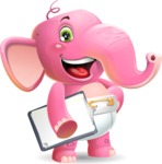 Baby Elephant Vector Cartoon Character - Smiling and holding notepad