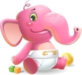 Baby Elephant Vector Cartoon Character - Smiling