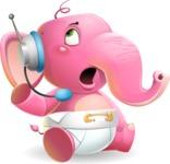 Baby Elephant Vector Cartoon Character - Talking on phone