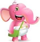 Baby Elephant Vector Cartoon Character - Traveling