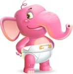 Baby Elephant Vector Cartoon Character - Waiting with hands behind back