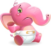 Baby Elephant Vector Cartoon Character - Waving for Goodbye with a hand