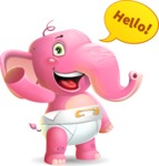 Baby Elephant Vector Cartoon Character - Waving for Hello with a hand