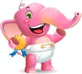 Baby Elephant Vector Cartoon Character - Winning prize