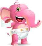 Baby Elephant Vector Cartoon Character - with a Blank Business card