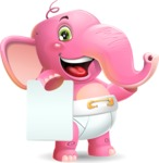 Baby Elephant Vector Cartoon Character - with a Blank paper