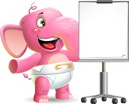 Baby Elephant Vector Cartoon Character - with a Blank Presentation board