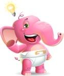 Baby Elephant Vector Cartoon Character - with a Light bulb