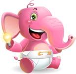 Baby Elephant Vector Cartoon Character - with an Idea