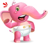 Baby Elephant Vector Cartoon Character - with Angry face