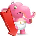 Baby Elephant Vector Cartoon Character - with Arrow going Down