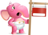 Baby Elephant Vector Cartoon Character - with Blank Real estate sign