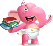 Baby Elephant Vector Cartoon Character - with Books