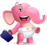 Baby Elephant Vector Cartoon Character - with Briefcase