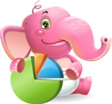 Baby Elephant Vector Cartoon Character - with Business graph