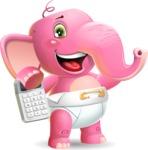 Baby Elephant Vector Cartoon Character - with Calculator