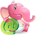 Baby Elephant Vector Cartoon Character - with Email sign