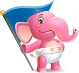 Baby Elephant Vector Cartoon Character - with Flag