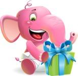 Baby Elephant Vector Cartoon Character - with Gift box
