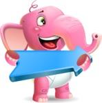 Baby Elephant Vector Cartoon Character - with Positive arrow