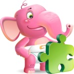 Baby Elephant Vector Cartoon Character - with Puzzle