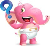 Baby Elephant Vector Cartoon Character - with Question mark