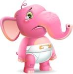 Baby Elephant Vector Cartoon Character - with Sad face
