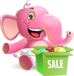 Baby Elephant Vector Cartoon Character - with Sale boxes