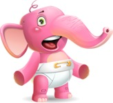 Baby Elephant Vector Cartoon Character - with Stunned face