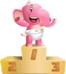 Baby Elephant Vector Cartoon Character - with Success on Top