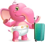 Baby Elephant Vector Cartoon Character - with Suitcase