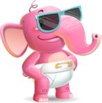 Baby Elephant Vector Cartoon Character - with Sunglasses