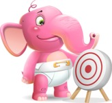 Baby Elephant Vector Cartoon Character - with Target