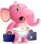 Baby Elephant Vector Cartoon Character - with Two briefcases