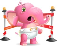 Baby Elephant Vector Cartoon Character - with Under Construction sign