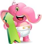 Baby Elephant Vector Cartoon Character - with Up arrow