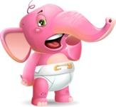 Baby Elephant Vector Cartoon Character - Yawning