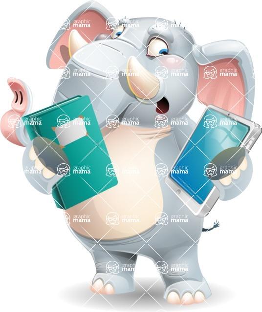 Elephant Cartoon Vector Character - Choosing between Book and Tablet
