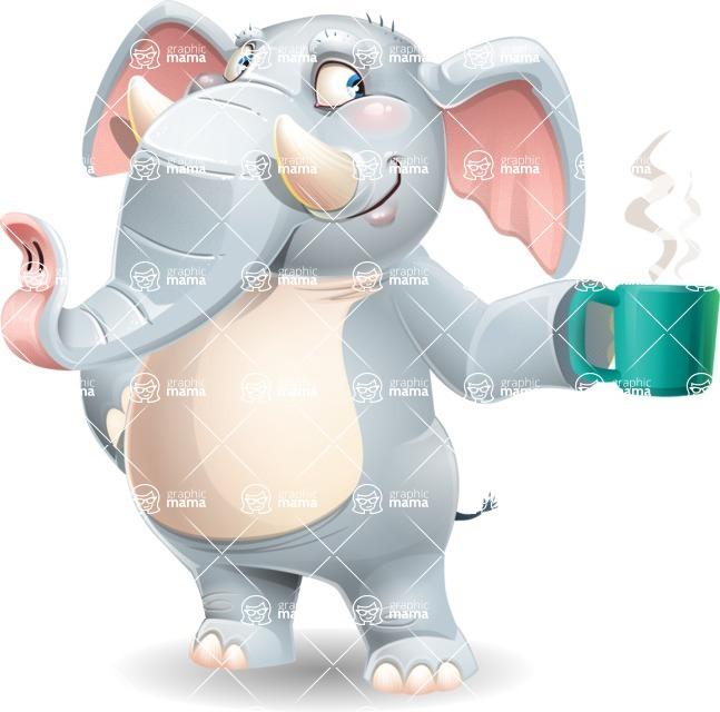Elephant Cartoon Vector Character - Drinking coffee