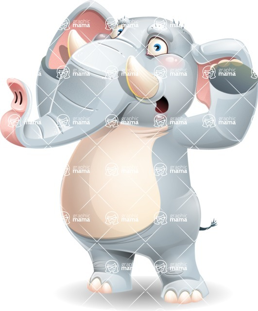 Elephant Cartoon Vector Character - Feeling Shocked