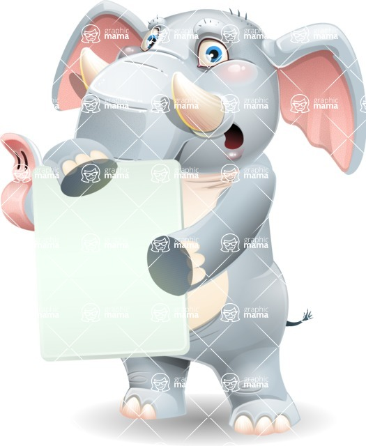 Elephant Cartoon Vector Character - Holding a Blank banner